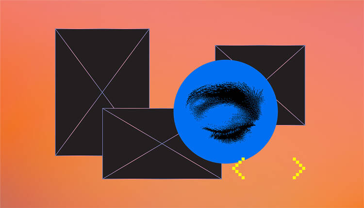 Graphic collage of black rectangles and a closed eye on top of a peach background