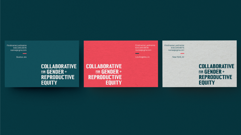 Three cgre businesscards, left to right: teal, coral and grey colored