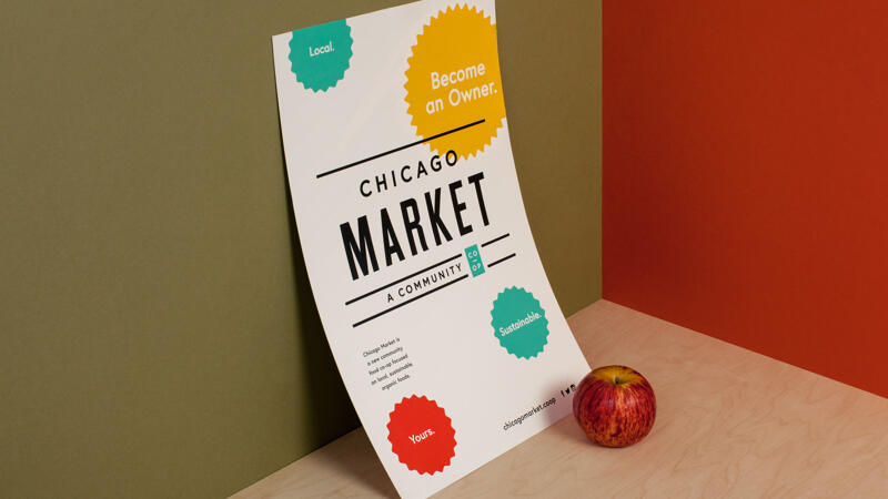 Chicago market poster against a wall