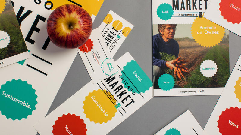 Chicago Market stationery laying on a surface with fresh fruit