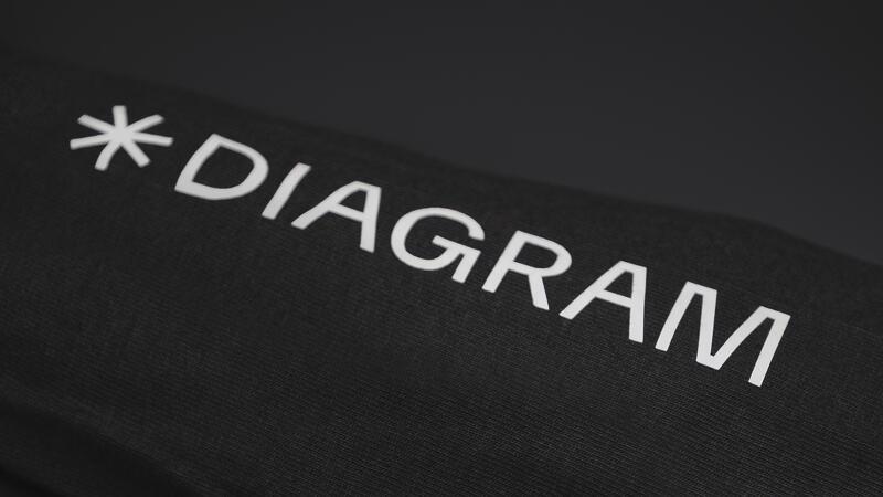 Printed Diagram logo on a hoodie sleeve