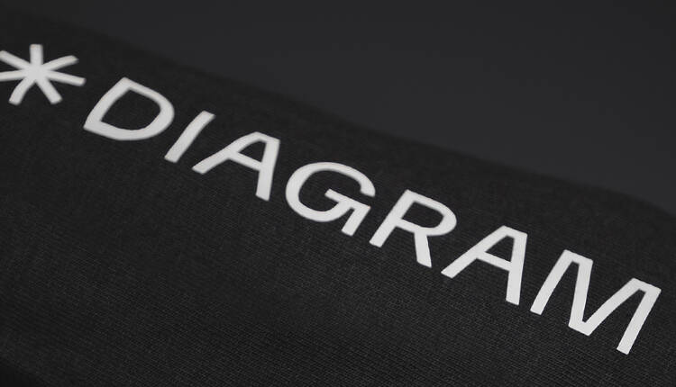 Printed Diagram logo on a hoodie sleeve
