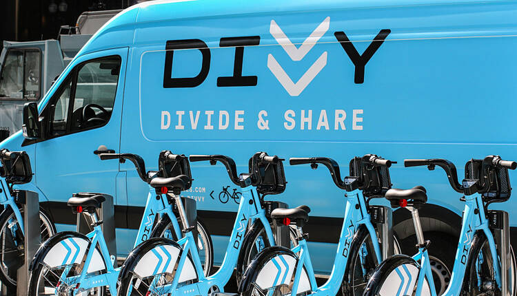 Divvy logo on side of a bike