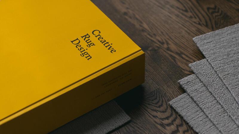 FLOR Packaging Branding Detail on box that says Creative Rug Design
