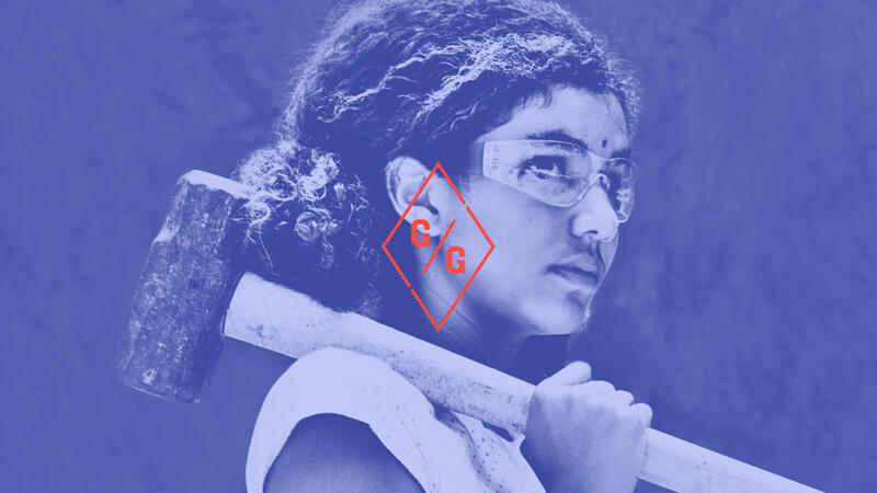 Girls Garage logo overlaid on image of young girl holding a sledge hammer and wearing protective goggles