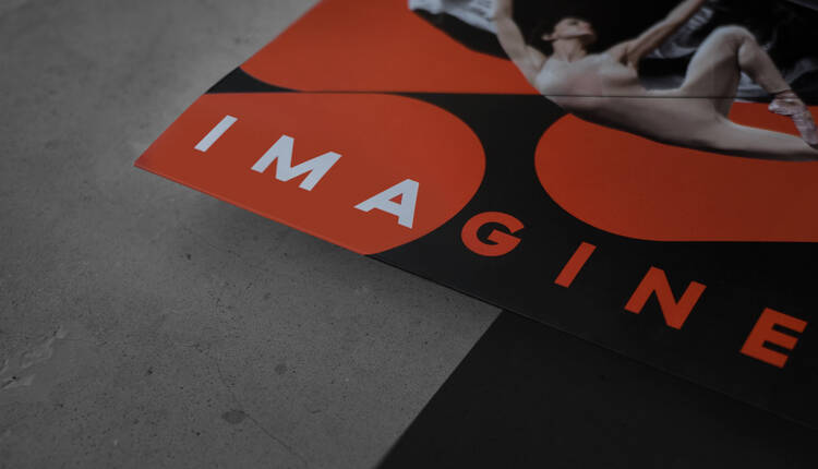 Harris Theater booklet closeup with the campaign title Imagine