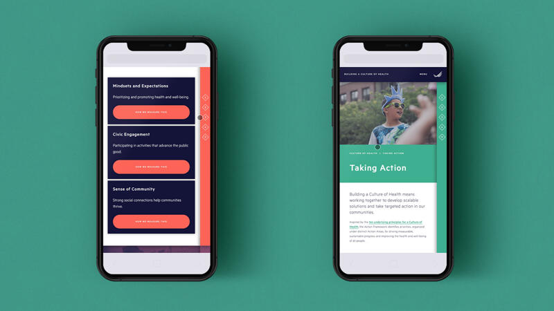 Two mobile views of website