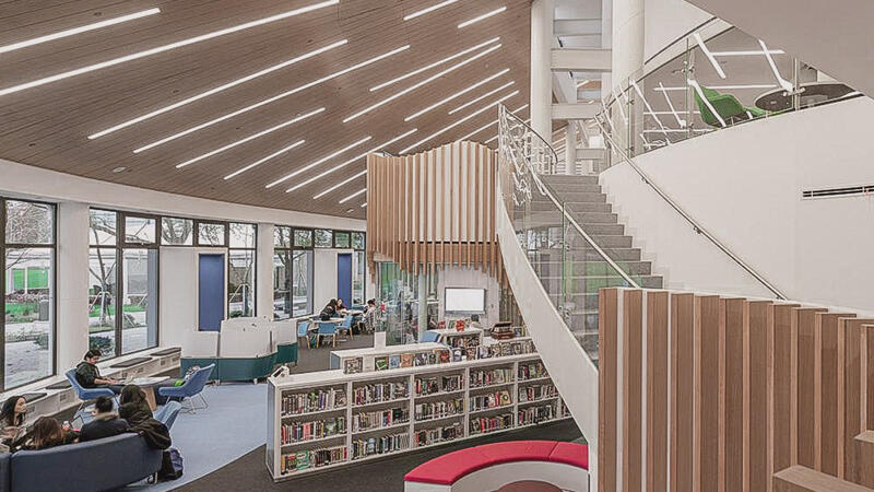 Inside view of the HUB Library Space from the second floor