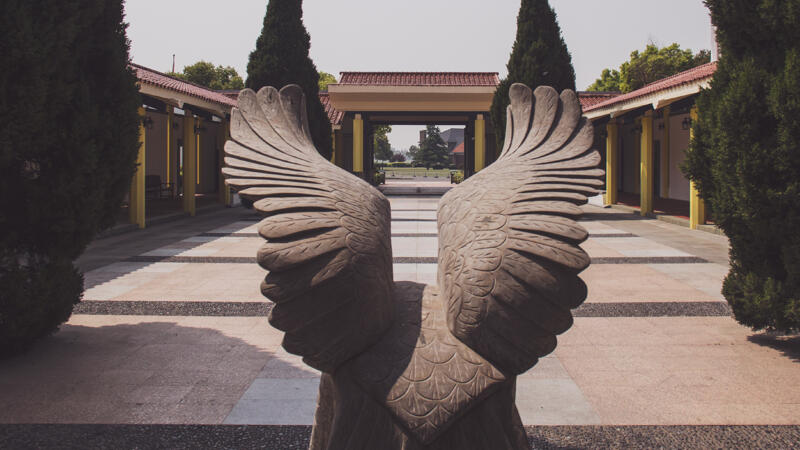 Shanghai American School Entrance with eagle statue