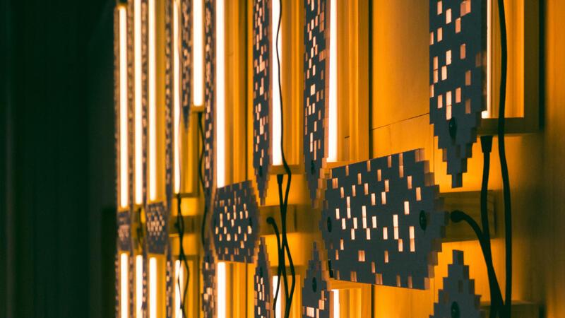 Rear detail of 88:88 light installation